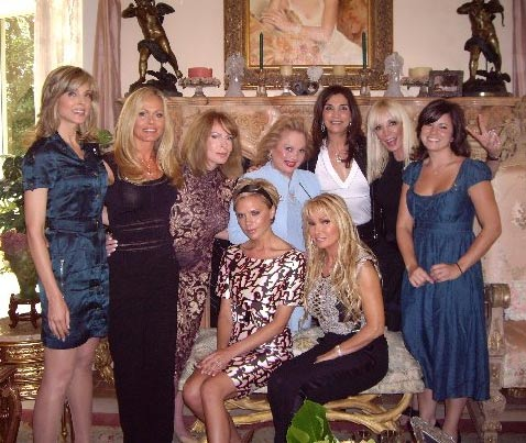 Carol Connors, The Dolphin Call Lady and friends, with Victoria Beckham.